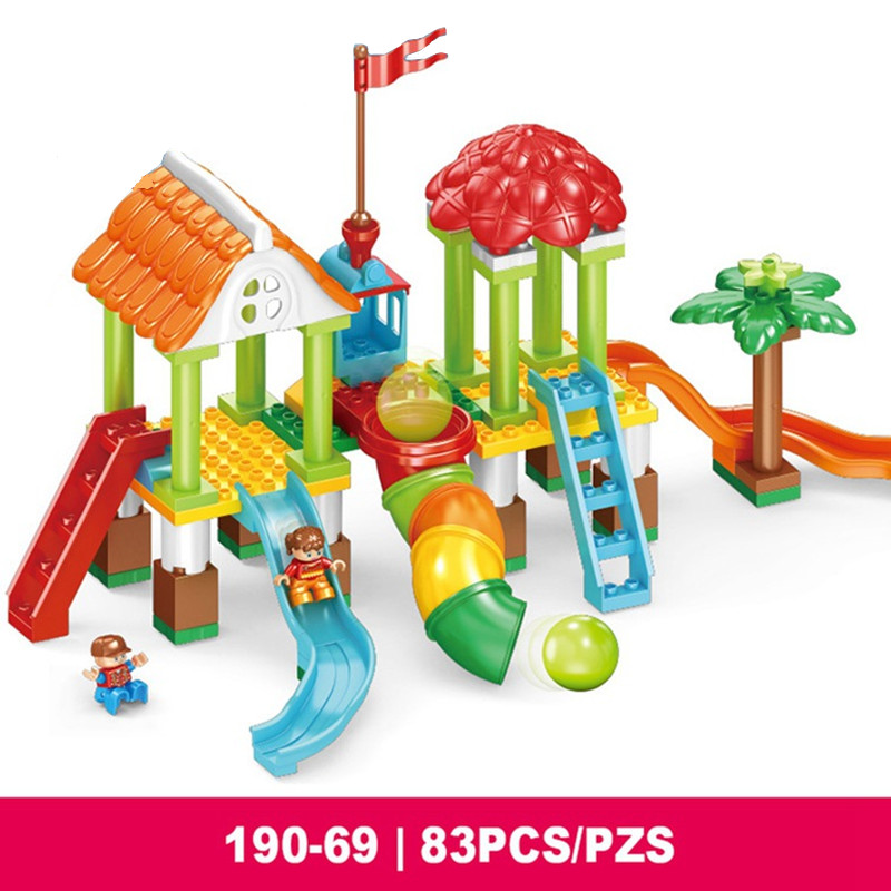 Building Blocks DIY Slide Amusement Park Playground Bricks Baby Christmas Gifts Compatible With Legoingly Duploe Toys for Kids