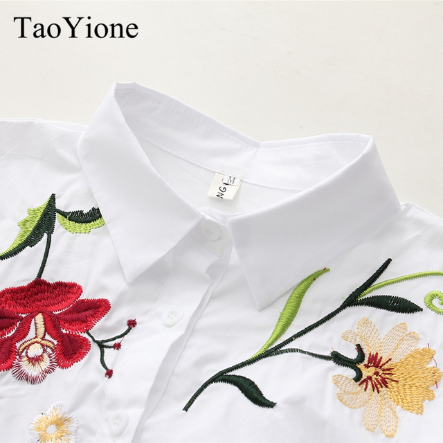 Women's Shirt Floral Embroidery White Cotton Shirts 2019 Autumn Women Blouse Long Sleeve Casual Tops Loose Shirt Blusas Feminina