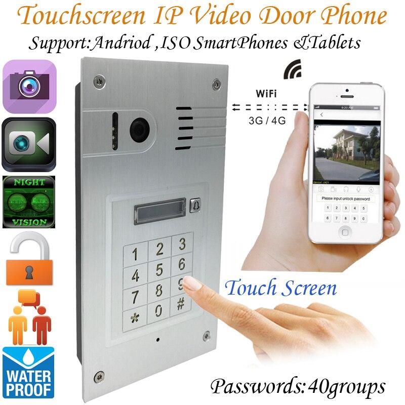 Mondial 3g/4g Sans Fil D'écran Tactile de Wifi Vidéo porte téléphone embarqué sonnette Caméra IP Interphone système