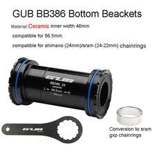 GUB Ceramic Bicycle Bottom Bracket 24mm Press-fit Bike Axle Waterproof BB Crank Set MTB bike interlock Cycling for Shimano Sram