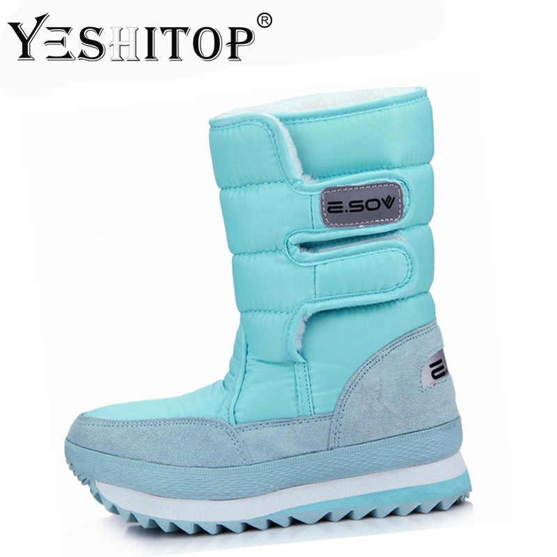 Wanita Sepatu Bot Salju Sepatu Bot Musim Dingin Wanita Datar Tahan Air 2019 Sepatu Pasang Kaos Mujer Pasang Kaos Feminin De Inverno Hitam Putih Plus Ukuran