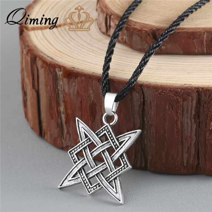 QIMING Slavic Norway Valknut Viking Svarog Square Pendant Star Rus Amulet Pendant Ancient Slavic Talisman Pendant Jewelry Pagan