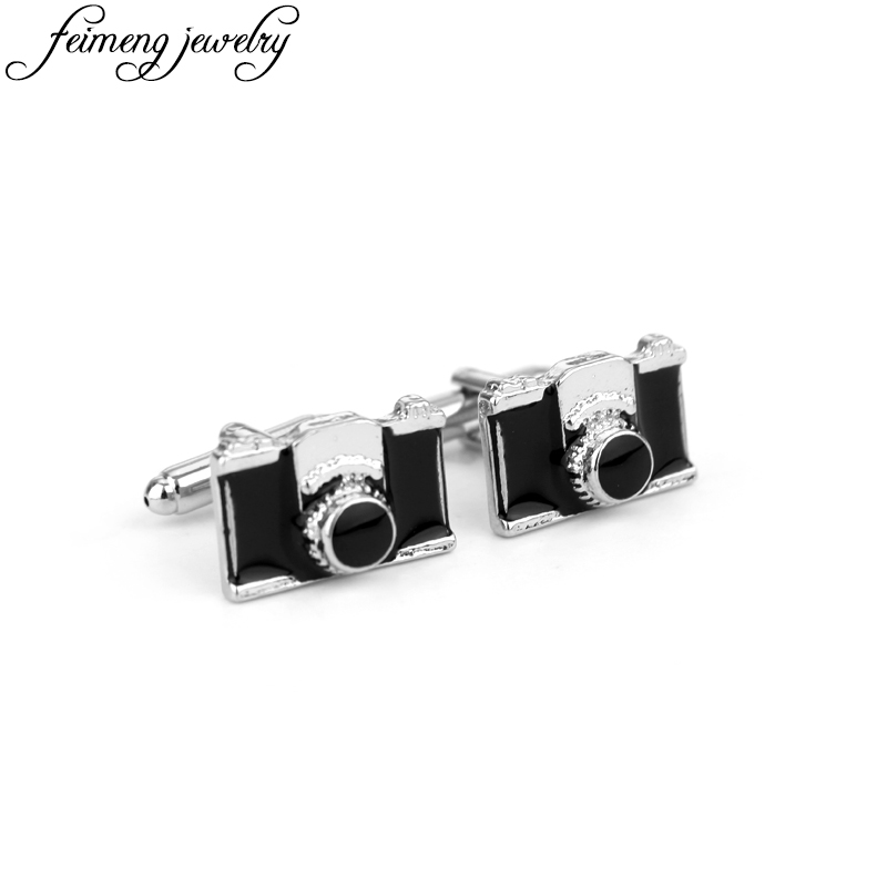 Strangers Thing Camera Modeling Cufflinks Black Enamel Cuff Button Men's Fashion Shirt Brand French Cuff Links Charm Jewelry tie cuff button front blouse
