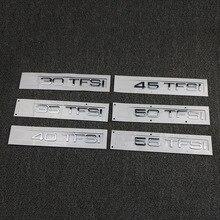 Car Logo Emblem Chrome Displacement Standard Trunk Stickers For Audi TFSI