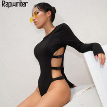Rapwriter Sexy Side Hollow Out Plastic Buckle Cotton O-Neck Stretch Bodysuits Women 2019 Spring Long Sleeve Sheer Black Bodysuit(China)