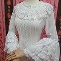 Estilo retro longo flare manga lolita blusa de renda das mulheres plus size chiffon camisa branca com camadas de babados de renda
