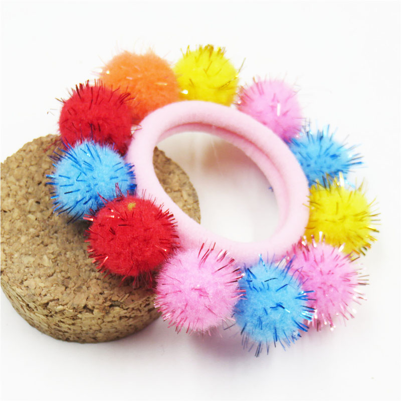 1PCS Pretty Candy Full Hair Balls Elastic Hair Bands For Girls Handmade Bow Headband Scrunchy Kids Hair Accessories For Women
