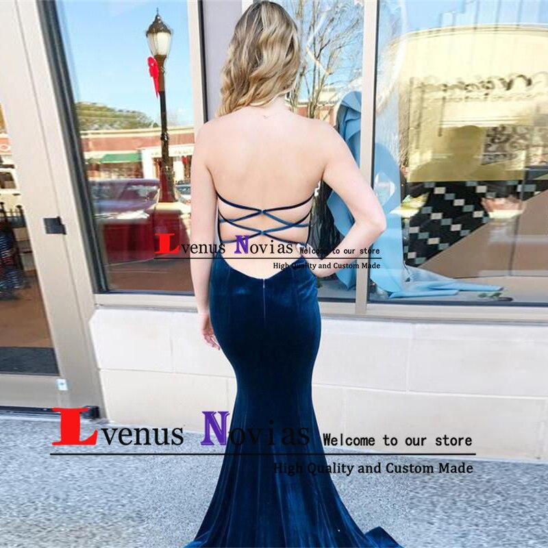 7e50d2db79d91 Robe soiree Cheap Dark Blue Velvet Mermaid Prom Dresses Elegant ...
