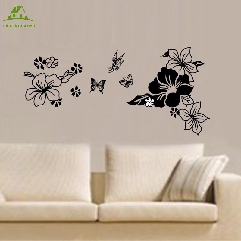Black Flowers Butterflie Vinyl Wall Stickers Home Decor Art Decals Design  Wallpaper Sofa House Decoration Adesivo. Compare Prices on House Wallpaper Design  Online Shopping Buy Low