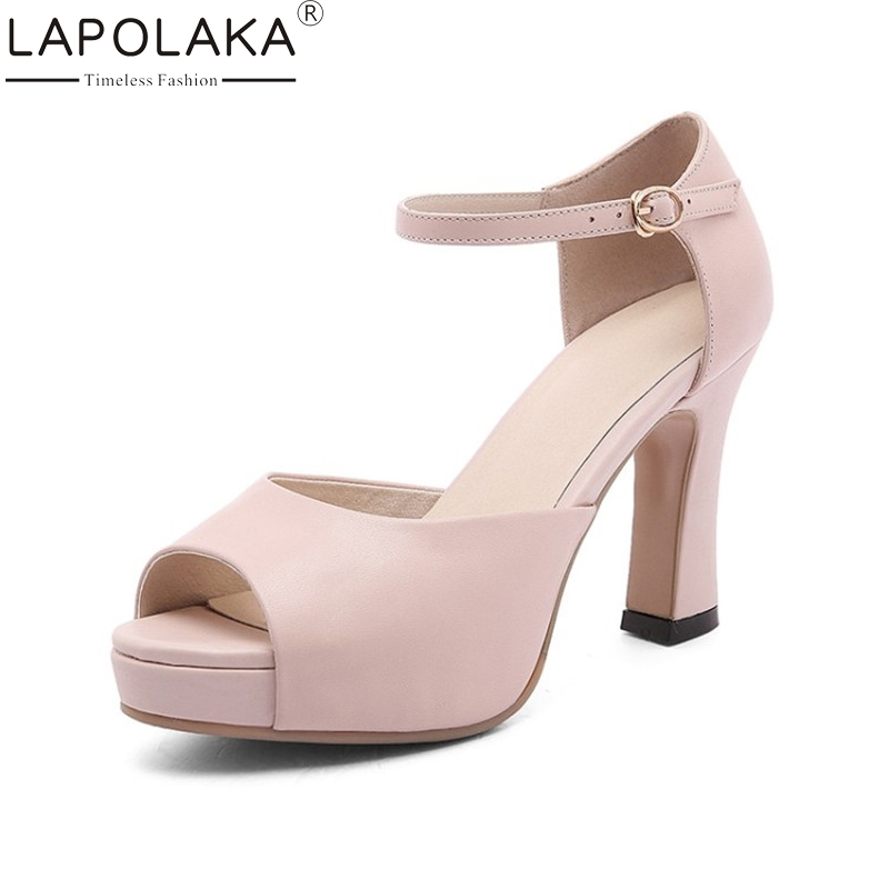 LAPOLAKA New women's Genuine Leather Square High Heels Buckle Strap Platform Shoes Woman Casual Summer Sandals Big Size 33-40 woman fashion high heels sandals women genuine leather buckle summer shoes brand new wedges casual platform sandal gold silver