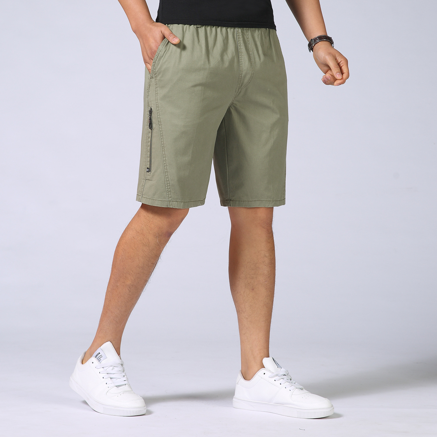 2018 Summer Mens Military Cargo Shorts Plus Size Work Casual Loose Khaki Solid 100% Cotton Short Pants Top Selling