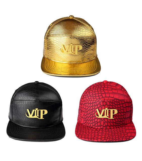 Men Women Rock PU Leather VIP logo baseball caps Golden Crocodile Grain DJ  Rap hip hop b1cd242c02fc