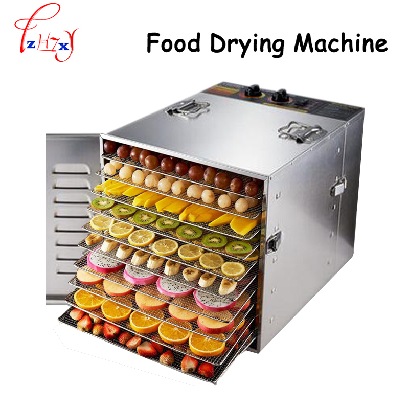 Household 10 Tray 304 stainless steel food drying machine Fruits and vegetables drying machine Pet food dryer   110/220V cukyi household electric multi function cooker 220v stainless steel colorful stew cook steam machine 5 in 1