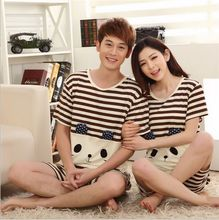 Big Promotion!!Fashion Spring/Summer Couple silk Pajamas Home Suit Men/Women Cartoon characters printing Short sleeve Sleepwear