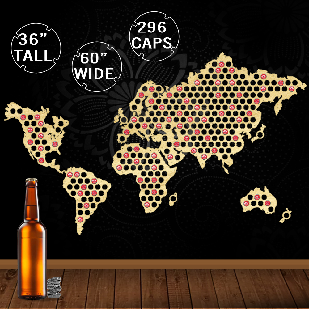 1 pièce carte du monde bière casquette bière en bois artisanat mur décor bière casquette carte affichage nouveauté cadeaux pour bière amant casquette Collector