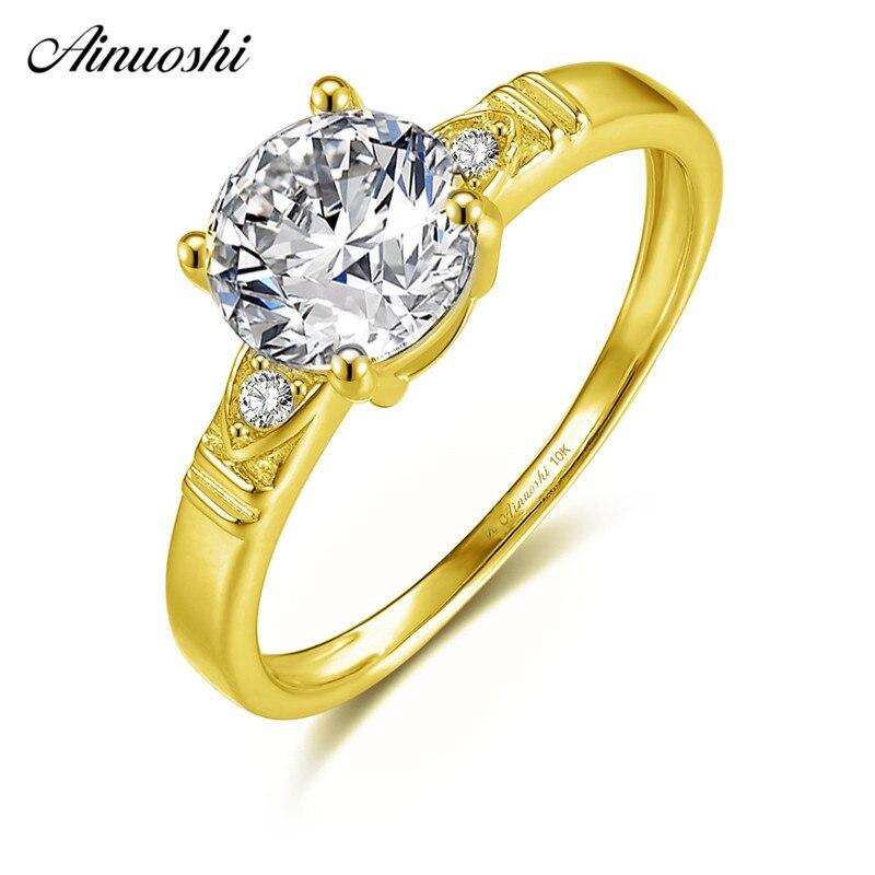 AINUOSHI 10 k Solide Jaune Or Anneau 1.25 ct Round Cut SONA Diamant Femelle De Mariage de Fiançailles bijoux Classique De Mariée Bande anillo