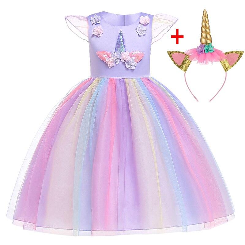 HTB1XwSdadfvK1RjSspfq6zzXFXaE Unicorn Dresses For Elsa Costume Carnival Christmas Kids Dresses For Girls Birthday Princess Dress Children Party Dress fantasia