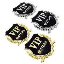 цена на 2PCS VIP Car Body Sticker Metal Rear Trunk Emblem Badge Auto Decal for Hyundai Volkswagen Chevrolet KIA Volvo Peugeot BMW Dodge