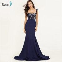 Dressv Dark Royal Blue Straps Sexy Evening Dress Sleeveless Mermaid Sweep Train Wedding Party Formal Dress