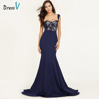 Dressv Dark Royal Blue Straps Sexy Evening Dress Sleeveless Mermaid Sweep Train Wedding Party Formal Dress