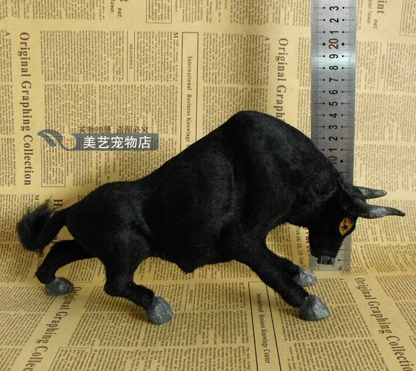 simulation cattle model,polyethylene& fur 30x15cm black bull cattle handicraft toy,prop,home Decoration,Xmas gift b3711