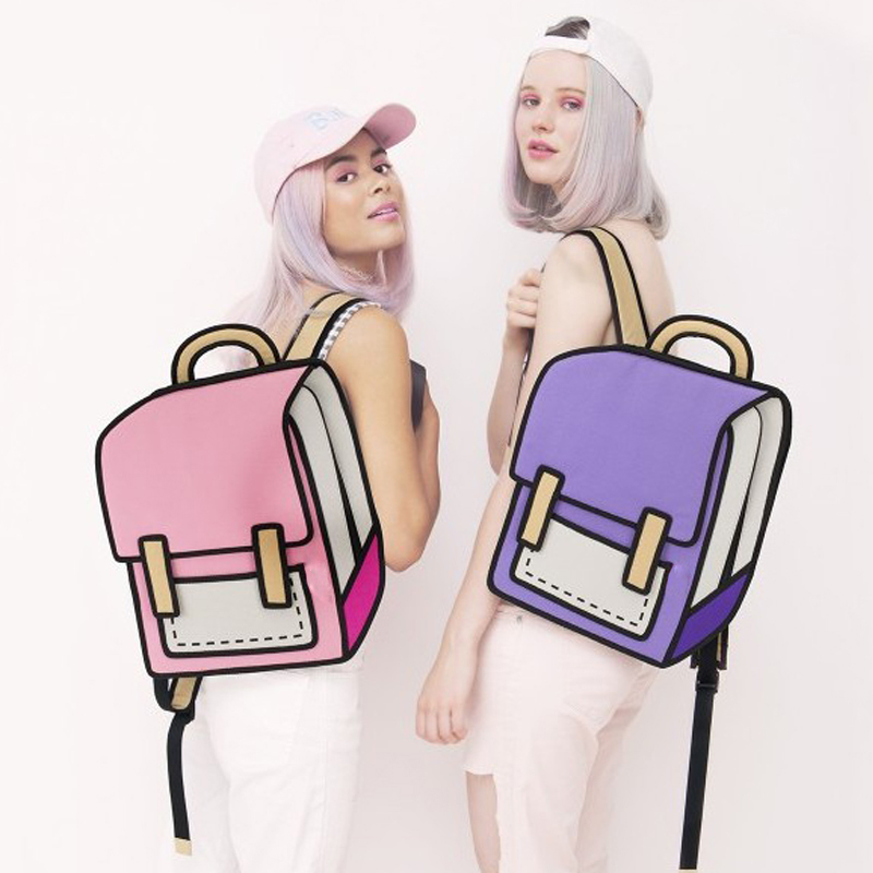 Women Backpack 3D Jump Style 2D Drawing Cartoon Back Bag Comic Messenger Tote Fashion Cute Student Bags Unisex Knapsack Bolos
