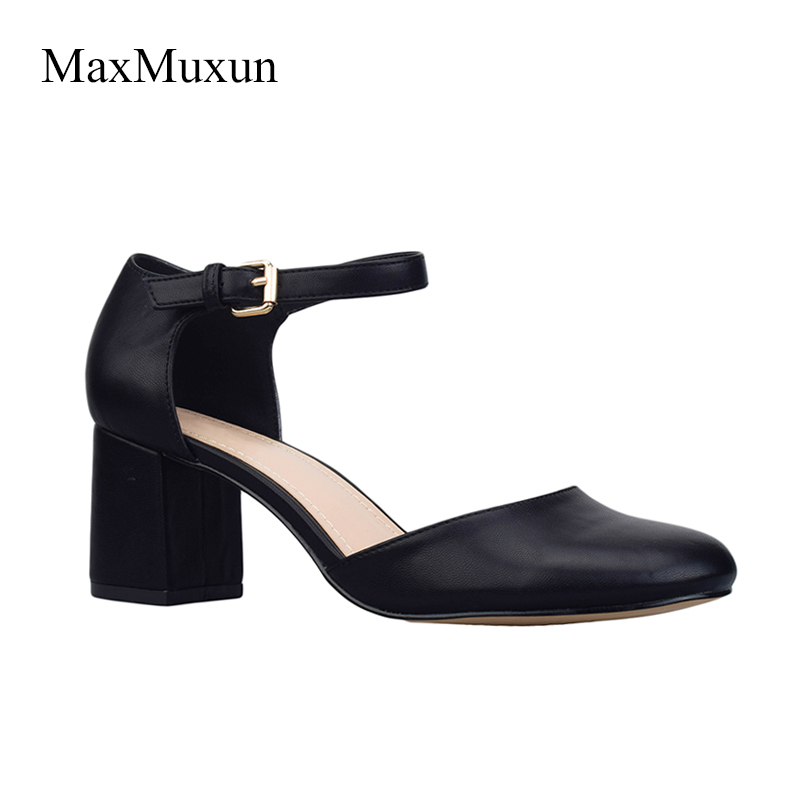 Maxmuxun Women Shoes Mary Jane Ladies Mid High Thick Heels Nude Wedding Shoes Thick Heel Round Toe Dress Pumps Lady Shoes Black 5 colors ankle strap lady wedding shoes women red thick high heel pumps lady square toe black dress shoes size34 43