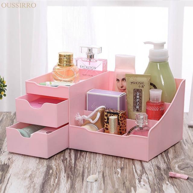 Drawer Type Makeup Organizer Cosmetics Desktop Storage Box Open Type High-capacity Plastic Sundries Container Dresser