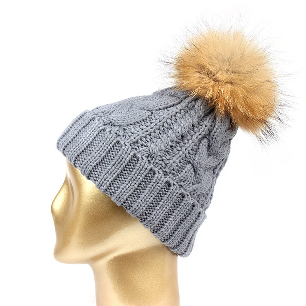 Women's Winter Hat Unisex Real Raccoon Fur Ball Pom Pom Knitted Wool Beanie Cap Pompom Winter Warm Men Hat For Boy Girls Bonnet unisex illest letter hat gorros bonnets winter cap skulies beanie female hiphop knitted hat toucas outdoor wool men pom ball