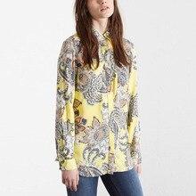 Nice Fashion Ladies Shirts Vintage Floral Printed Blouses Women Blasus Casual Long Sleeve Shirt Women Tops EC5520