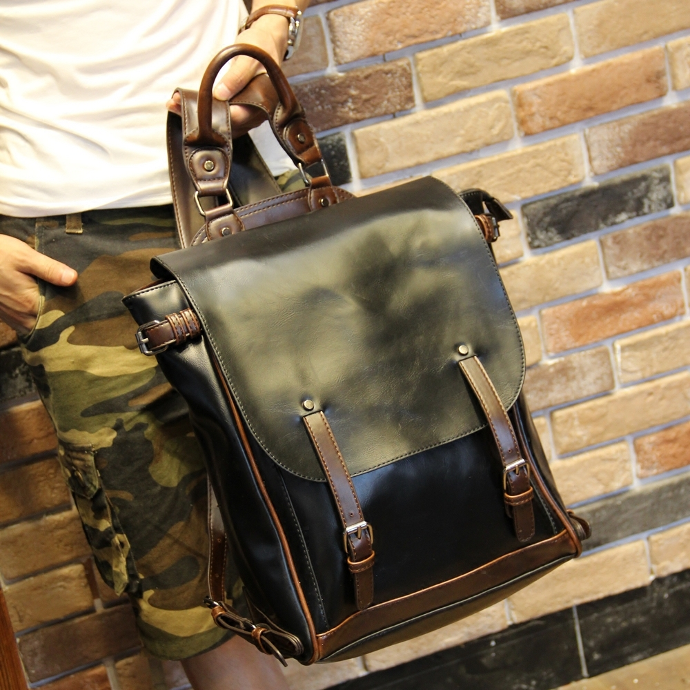 6b0d23919e88 Fashion Design Crazy Horse PU Leather Men s Backpack Youth School ...