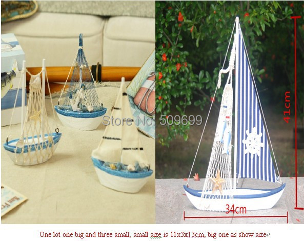 2016 Mediterranean Fashion Crafts Decorations Wooden Sailing Boat Home  Model Ornaments/souvenir Gift  Free