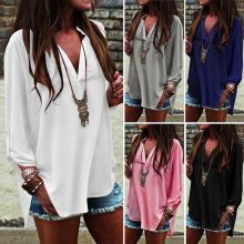 Oversized Chiffon Blouse Sexy V neck Long Sleeve Asymmetrical Blusa Tops Women Summer Blouse Tops Plus size EF6170(China)