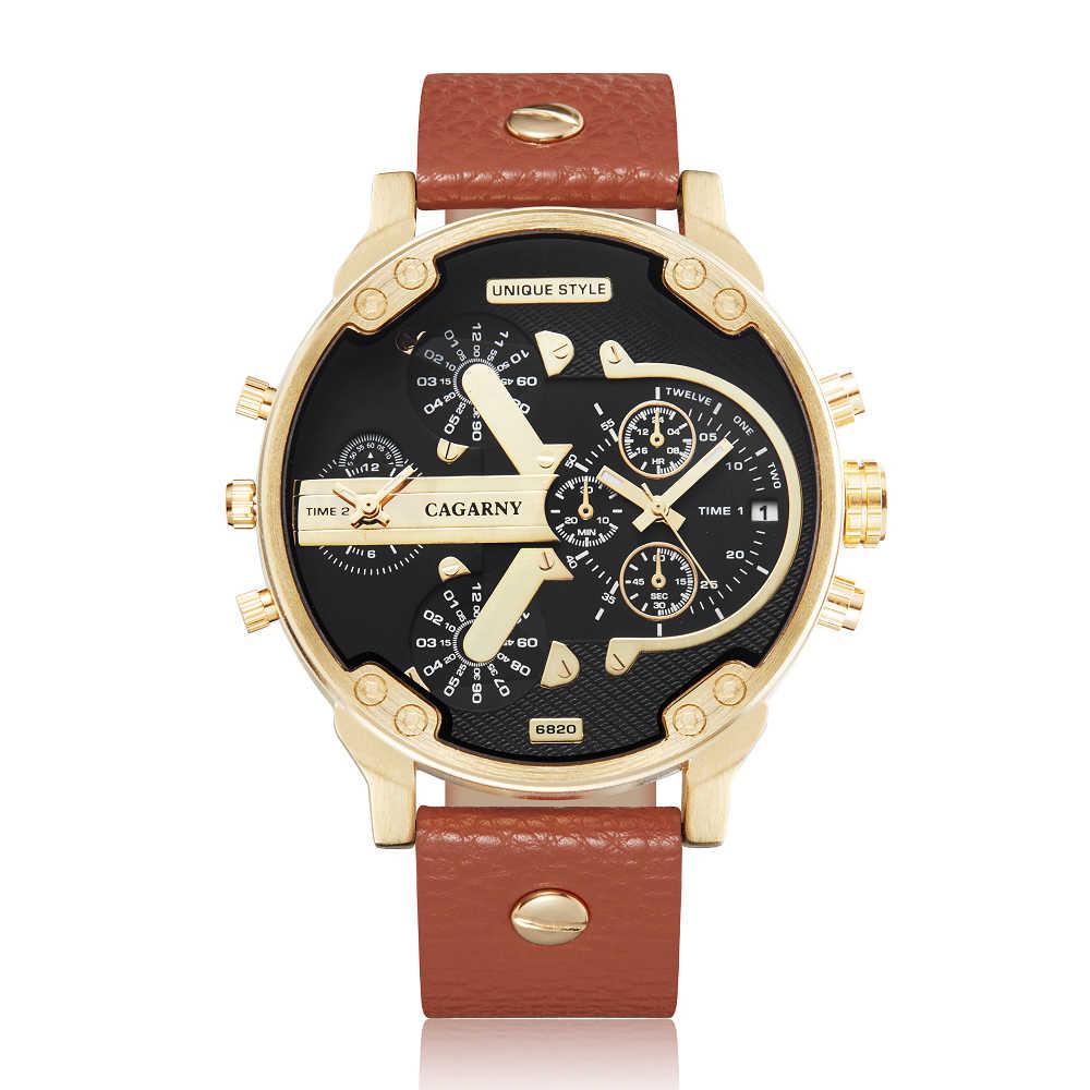 Relojes de pulsera dorados de marca de lujo para hombre, reloj de cuarzo de moda para hombre, correa de cuero, reloj militar para hombre