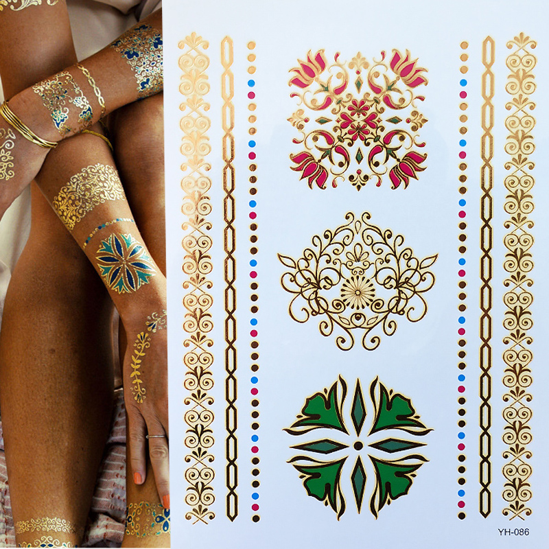 Metallic Gold Tattoo Silver Waterproof Temporary Tattoos Stickers On The Body Women Flash Tattoo Stickers Men