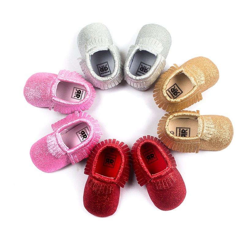 Shiny Sparking Baby Boys Shoes Girls Moccasins Newborn First Walkers Shoes New Year Festival Gift
