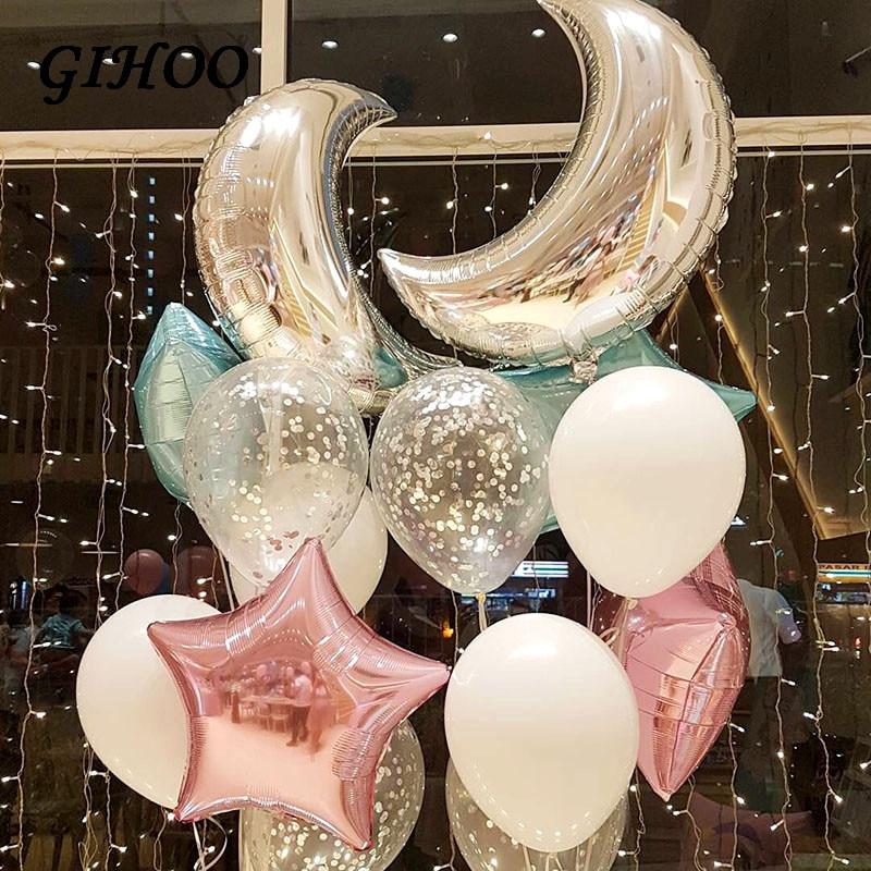 7 pçs 36 polegada grande lua de prata 18 polegada rosa azul estrela folha balões confetes balão festa de aniversário casamento chá de fraldas decoração