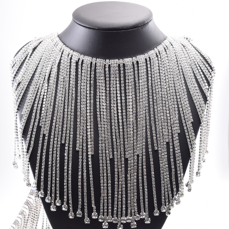 10yards long fringe crystal rhinestone applique trim tassel strass patches trimmings for wedding dress clothings appliques