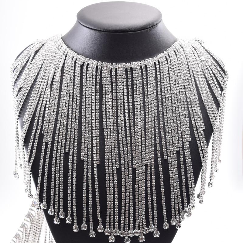 10 yards longue frange cristal strass bordure en appliqué gland strass patchs passementerie pour robe de mariée vêtements appliques-in Strass from Maison & Animalerie    1