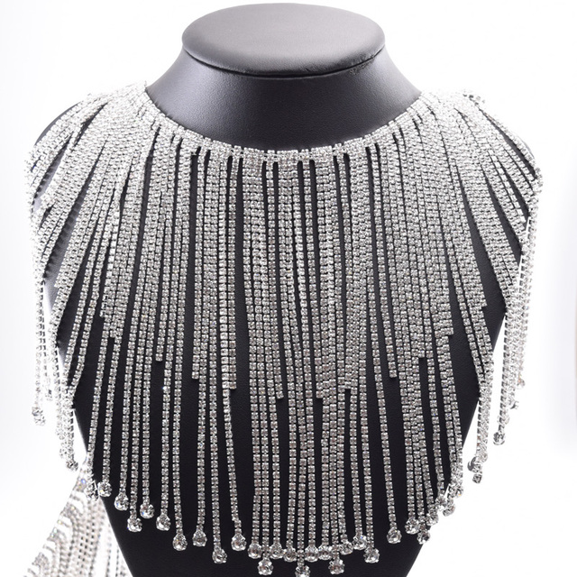 10yards long fringe crystal rhinestone applique trim tassel strass patches  trimmings for wedding dress clothings appliques 9a9483ab7a14