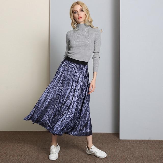 72025188c7d5bf 2017 Spring High Waist Velvet Pleated Skirt Women Vintage Long Warm Skirts  Metallic A Linen Skirt
