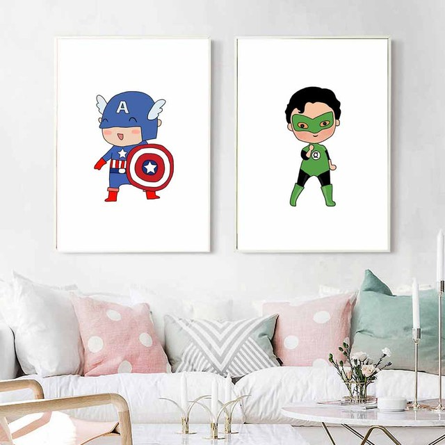 Cute Super Hero Canvas Painting Cartoon Batman Art Print Poster Wall ...
