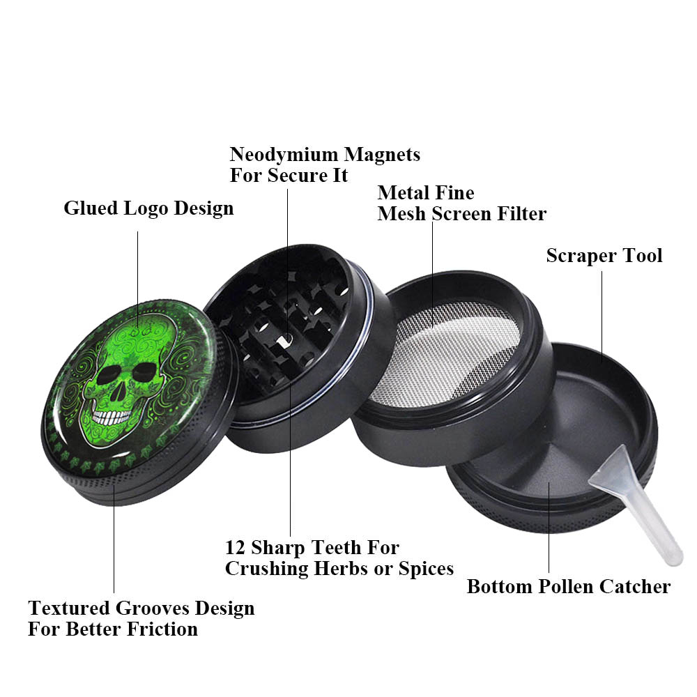 Image 3 - HORNET Sugar Skull Series Aluminum Herb Grinder 50MM 4 Piece Metal Tobacco Grinder  Grinders Crusher Smoke  Accessories-in Tobacco Pipes & Accessories from Home & Garden