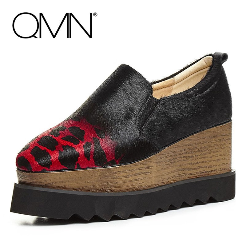 QMN women genuine leather flats Women Leopard Prints Horsehair Loafers Retro Square Toe Slip On Platform Shoes Woman Creepers  qmn women genuine leather flats women horsehair loafers retro square toe slip on flat platform shoes woman creepers 34 42