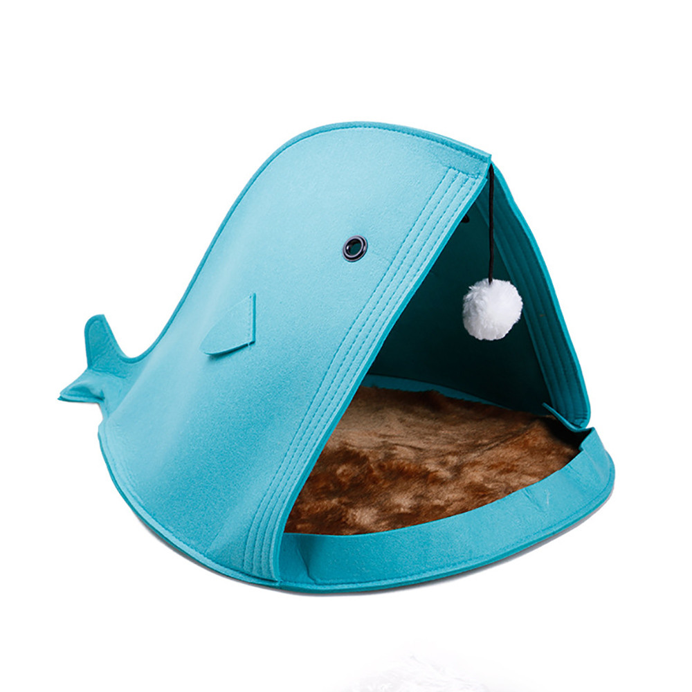 Newest 2 color Pet Dog Dual Use Convenient Portable Shark Shape Cute Dog Beds Warm Soft Foldable Dog House F901 8