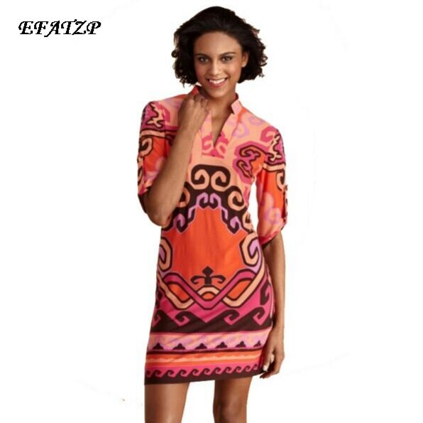 Kadın Giyim'ten Elbiseler'de Lüks Markalar Tasarımcı Elbise kadın Yarım kollu Geometrik Baskı Standı Yaka Elastik Ipek Artı Boyutu Elbise XXL'da  Grup 1