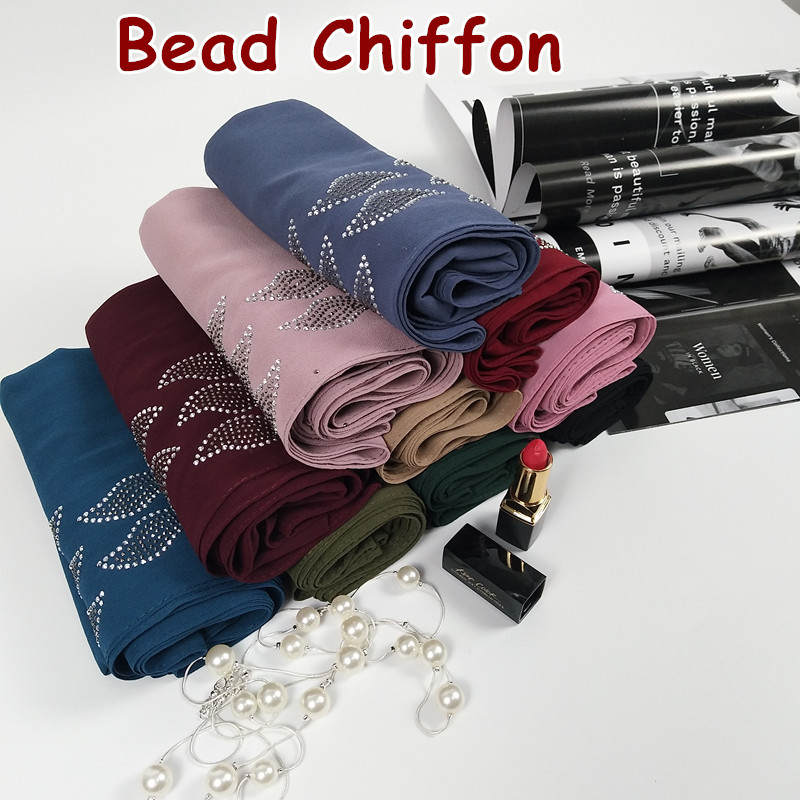 H 4  High quality diamond bubble chiffon hijab wrap shawl women scarf scarves wrap headband 180*75cm  bead rainstone shawl