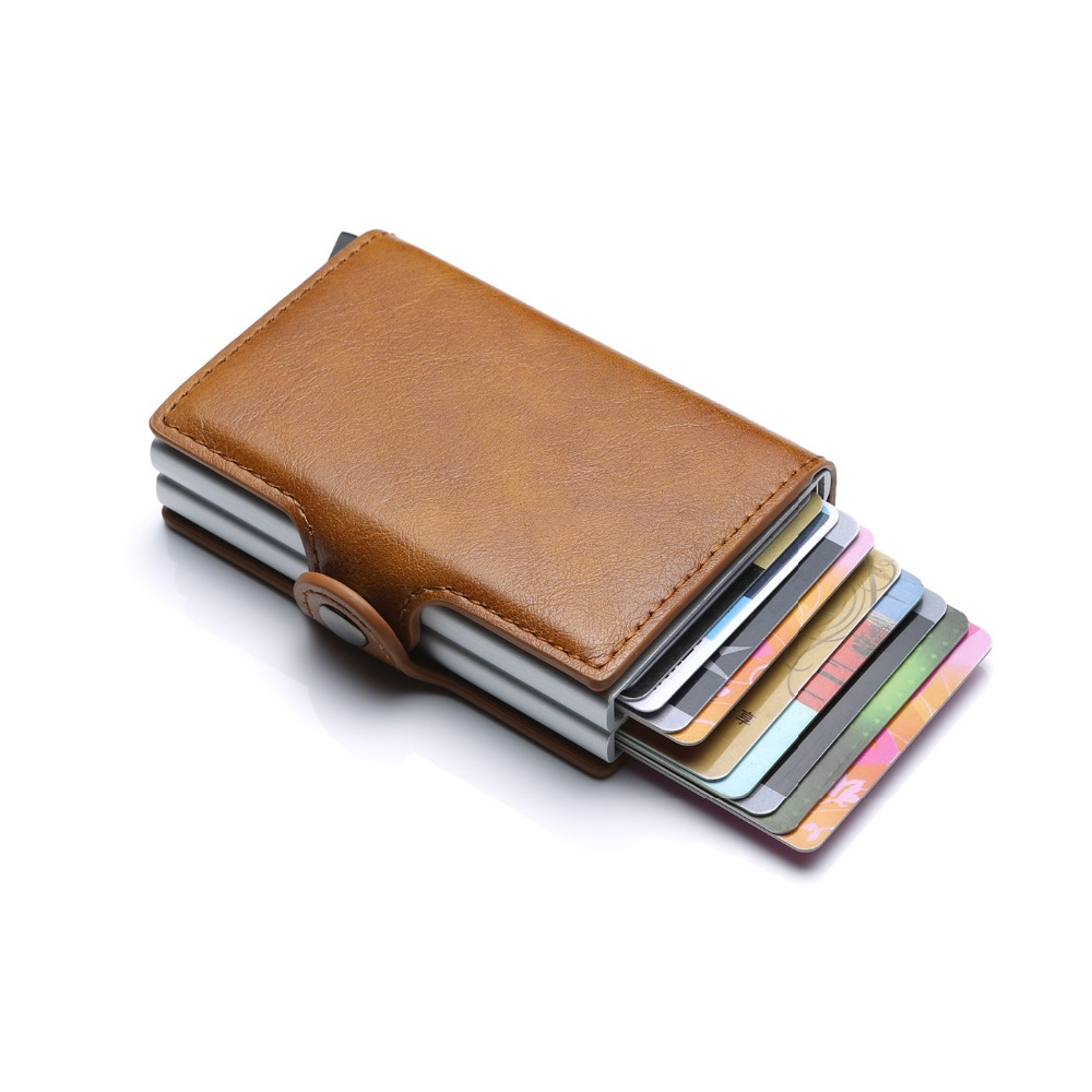 DIENQI Aluminium Rfid Wallet Male Small Coin Purse Men Leather Wallet Pocket Money Card Protection ID Credit Card Cases 2018