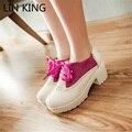 LIN REY Zapatos Femeninos Plataforma Gruesa Suela de Tacón Cuadrado Medio Dulce Lolita Zapatos Lace Up PU Partido Punta Redonda Otoño Bombas de Las Mujeres