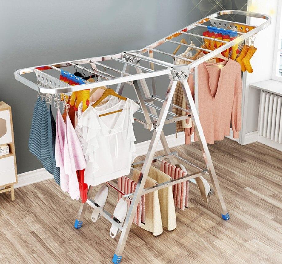 Stainless steel drying racks balcony Folding Floor Standing racks Clothes drying home Socks hangers Coat rack tower rod B496